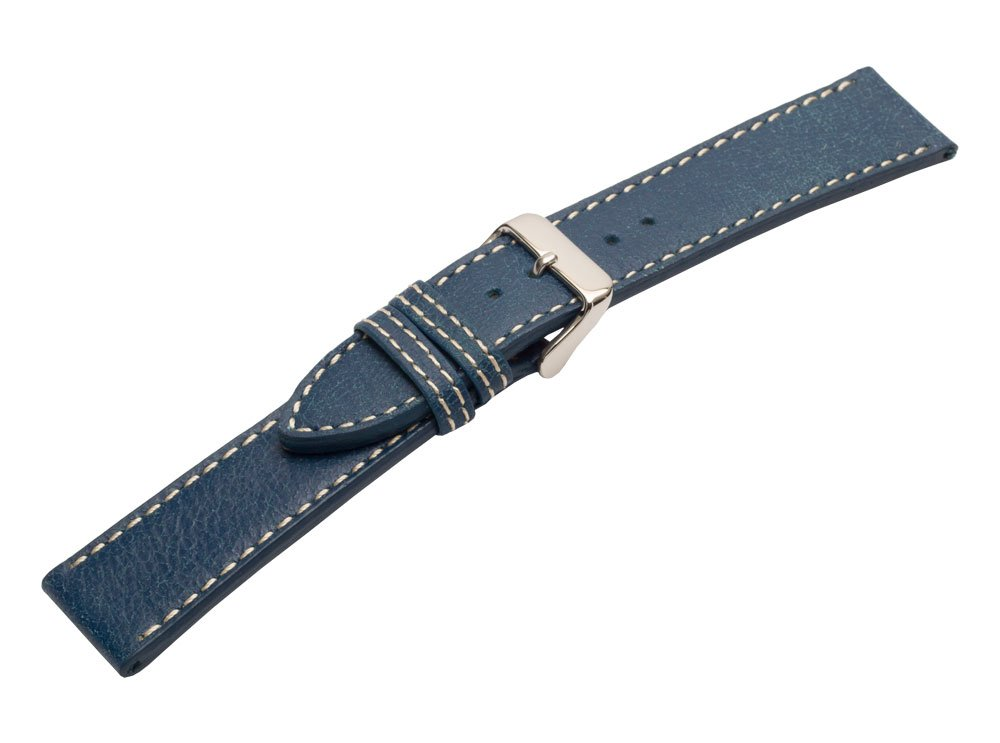 Strapped For Time 24mm Blue Leather Bomber Jacket Watch Band