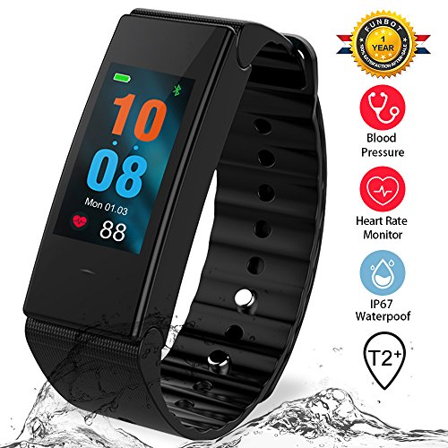 Funbot Fitness Tracker Activity Continuous Heart Rate Monitor Smart Pedometer Bracelet, IP67 Waterproof Fitness Watch Sleep Calorie Counter with Replacement Red/Blue Band for Android & iOS (Red Polyurethane Watch)