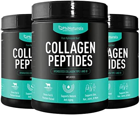 Hydrolyzed Collagen Peptides Protein Powder (Pack of 3) - Bovine Collagen Supplements - Kosher and Grass-Fed Beef - Non-GMO Keto & Paleo Friendly - Anti-Aging Proteins - Made in The USA [Unflavored]