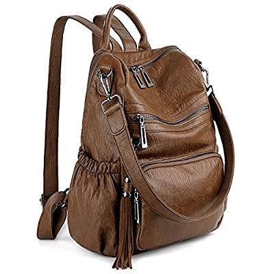 UTO Women Backpack Purse PU Washed Leather Convertible Ladies Rucksack Tassel Zipper Pocket Crossbody Shoulder Bag