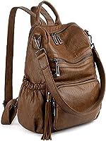 UTO Women Backpack Purse PU Washed Leather Convertible Ladies Rucksack Tassel Zipper Pocket Crossbody Shoulder Bag Brown MX