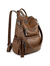 UTO Women Backpack Purse PU Washed Leather Convertible Ladies Rucksack Tassel Zipper Pocket Crossbody Shoulder Bag CA