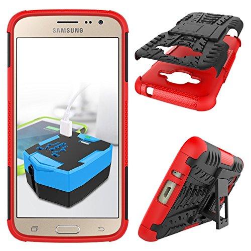 YHUISEN Nuevo Dual Layer Hybrid Armor Case Desmontable Kickstand 2 en 1 resistente a los golpes fuerte resistente cubierta de la caja para Samsung Galaxy J2 2016 J210 ( Color : Green ) Red