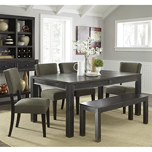 Ashley Gavelston 6 Piece Dining Set with Bench in Green