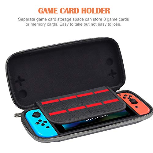 ElephantStory Slim Nintendo Switch Tasche, Portable Travel Protective Tasche Tragetasche Aufbewahrungstasche für Nintendo Switch Zubehör- Grau