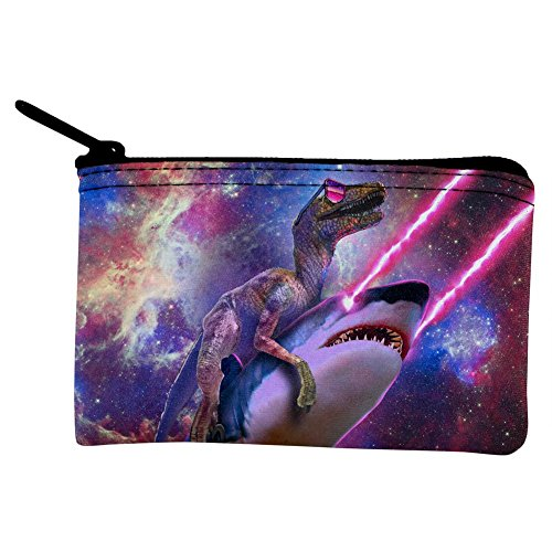 Music Coin Purse (Velociraptor Laser Shark Galaxy Funny Coin Purse Multi Standard One Size)