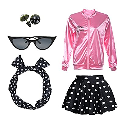 1950s Pink Ladies Satin Jacket T Bird Women Danny Halloween Costume Outfit