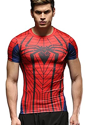 Red Plume Men's Film Super-Hero Series Compression Sports Shirt Skin Running Short Sleeve Tee