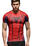 Red Plume Men's Compression Fithness T-shirt, Spider Printing Fithness T-shirts (L)