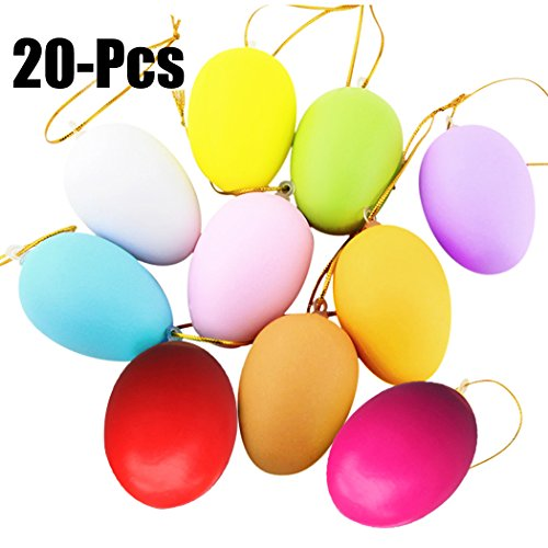 Coxeer Easter Egg, 20Pcs Artificial Egg DIY Decor Egg Easter Egg Toys Hanging Ornament with Hanging Sling (Miniature Easter Ornaments)