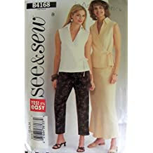 See & Sew B4168 Misses Wrap Top Skirt and Pants Sewing Pattern Size 12,14,16