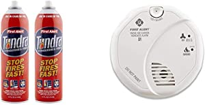 First Alert Fire Extinguisher | Tundra Fire Extinguishing Aerosol Spray, Pack of 2, AF400-2 & Smoke Detector and Carbon Monoxide Detector Alarm | Battery Operated, SCO5CN
