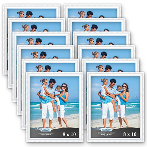 Icona Bay 8x10 Picture Frames (12 Pack, White) White Picture Frame Set, Wall Mount or Table Top, Set of 12 Inspirations Collection