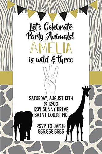 Birthday Invitations - 3rd Birthday - Young Wild and Three - Custom Birthday - Printable Birthday Invitation - Printed Birthday Invitations