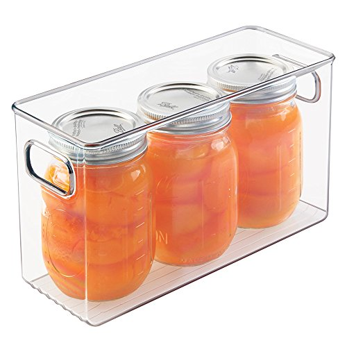 Pint Condiment Organizer (mDesign Mason Canning Jar Storage Bin, Holds Three 16 oz. Pint Jars - Clear)