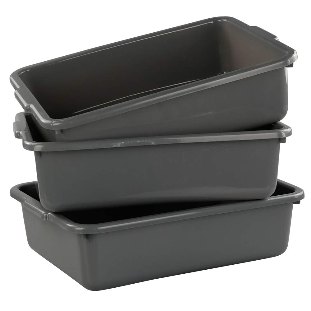 Lesbin 3-Pack 13 L Plastic Commercial Tote Box, Bus Tubs/Bus Box, Gray