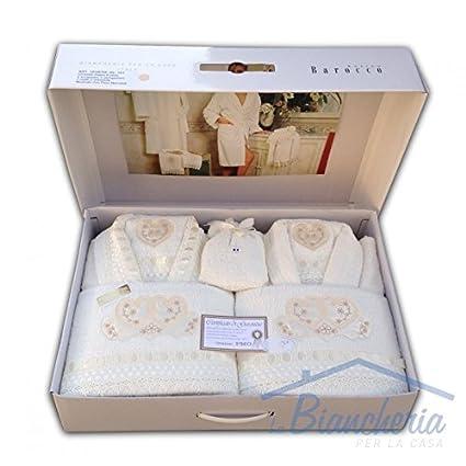 Completo baño de rizo bordada con encaje macramé 8 piezas Idea novia