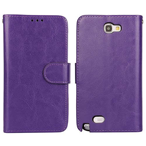 Note 2 Case, iCoverCase Crazy Horse Pattern PU Leather Wallet Case Flip Kickstand TPU Silicone Soft Cover for Samsung Galaxy Note 2 N7100 (Purple) - Note 2 Leather Wallet