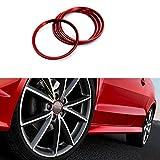 audi a5 rims - Duoles 4 Pieces Alloy Car Wheel Rim Center Cap Hub Rings Decoration For Audi A3 A4 A5 Q3 Q5 Q7 TT Quattro, BMW X1 X 3 X5 1 3 5 6 7 Series (Red)