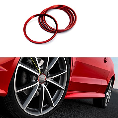 Duoles 4 Pieces Alloy Car Wheel Rim Center Cap Hub Rings Decoration for Audi A3 A4 A5 Q3 Q5 Q7 TT Quattro, BMW X1 X3 X5 1 3 5 6 7 Series (Red)
