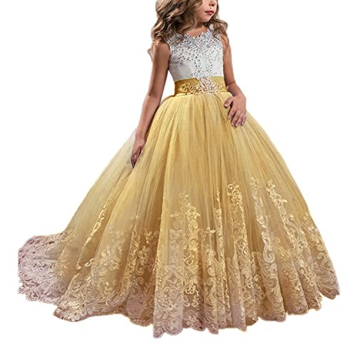 WDE Princess Gold Long Girls Pageant Dresses Kids Prom Puffy Tulle Ball Gown US -