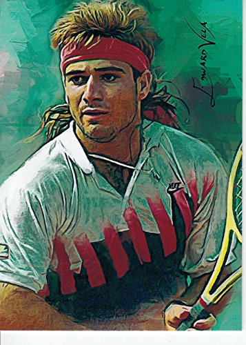 Andre Agassi #1-Print Sketch Card-RARE-Professional Tennis Player-WON MULTIPLE GRAND SLAM TITLES- Unlimited Edition Sketch Cards- BUY IT NOW OR MAKE AN (Andre Agassi Memorabilia)