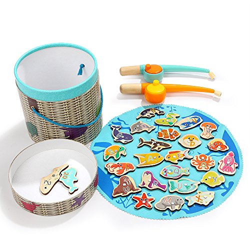 Fishing Game for Kids - With 2 Magnetic Rods & 26 Pieces Ocean Animals, TOP BRIGHT Toddlers Wooden Toys