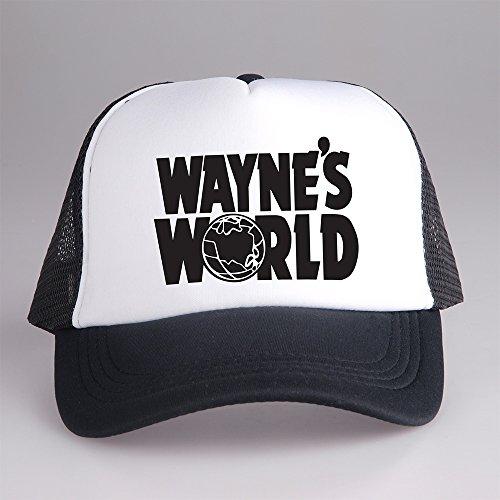 Wayne's World Costume Hat (Waynes World Trucker Cap Hat White and Black CPT-059 C-1 G-1)