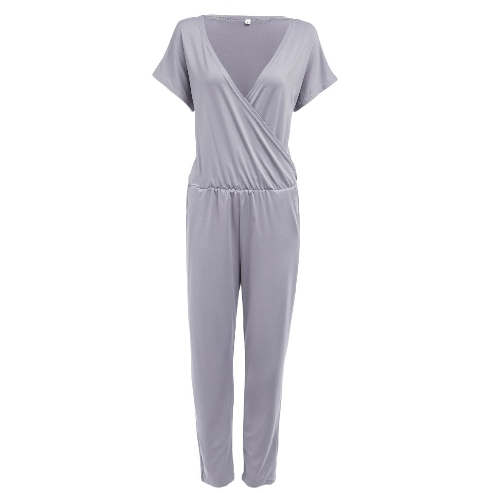 Cute Sexy Plunging Neck Elastic Waist Pocket Straight Casual Jumpsuit Women