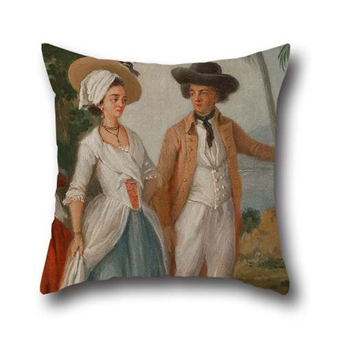 The Oil Painting Agostino Brunias - Planter And His Wife, With A Servant Throw Pillow Case Of ,18 X 18 Inch / 45 By 45 Cm Decoration,gift For Drawing Room,club,family,him,dining Room,home (twice Side (Personalized Gifts Planters)