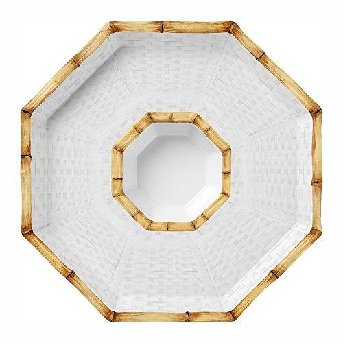 "Merritt Botanica Bamboo 14"" Octagonal Melamine Chip and Dip Set"