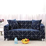 Zhiyuan Plaid Stretch Spandex Furniture Sofa Slipcover with 1 Cushion Cover Set, Three Seat, Navy