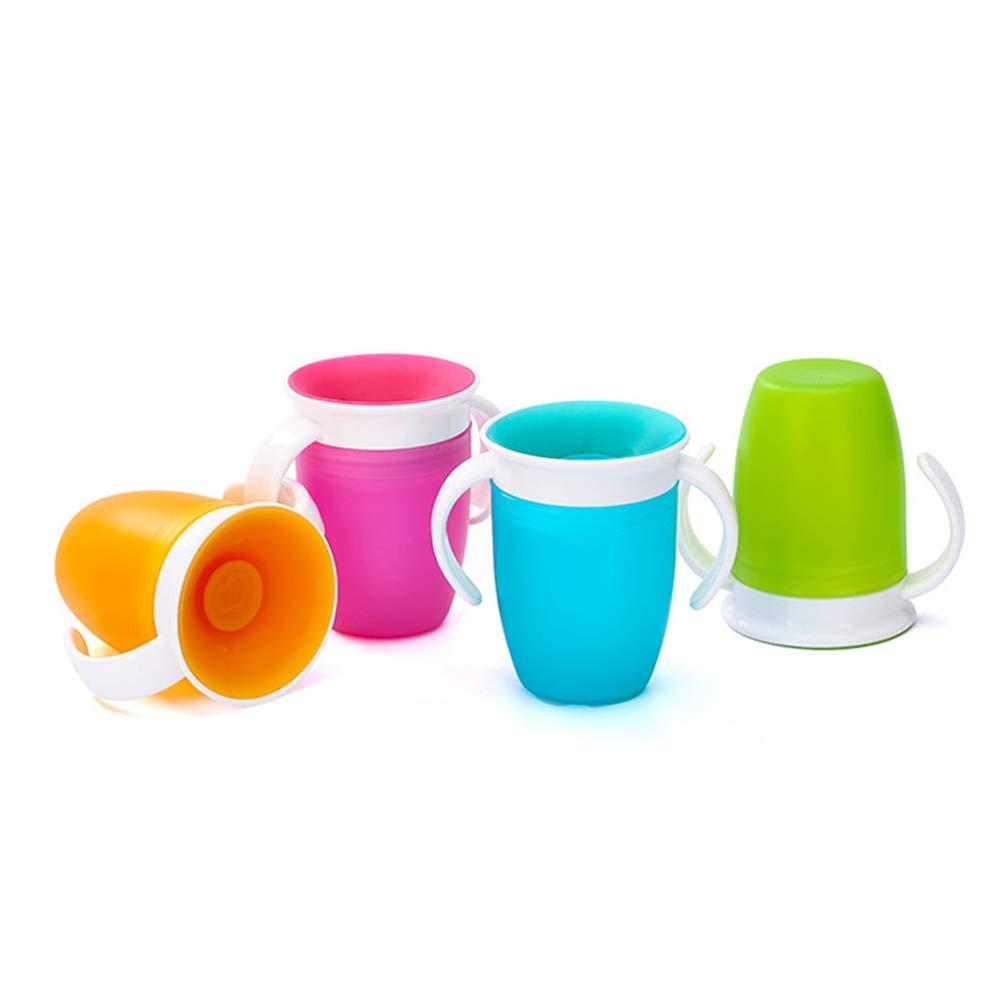 Anewu Taza de Aprendizaje de 360ᵒ con Asas 240 ml Taza para Beber para beb/és Taza sin Entrenador para ni/ños peque/ños