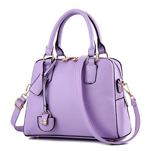 WU ZHI Señora PU Bolso De Cuero Suave De La Edad Media Bolsa De La Madre Bolsa De Hombro Bolso Messenger Bag Purple
