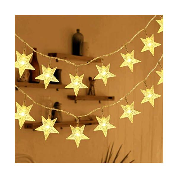 HOMVAN Catene Luminose 50 Stelle 7.5M Batteria Alimentata LED Luci Illuminazione Decorativa Ideale per Albero di Natale Halloween Matrimonio Decorazione della stanza Party Giardino(bianco caldo) 1 spesavip