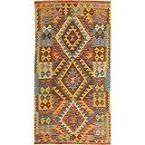 Kilim Afghan Old style rug 3 #39;2 quot;x6 #39;7 quot; (97x200 cm) Oriental Carpet