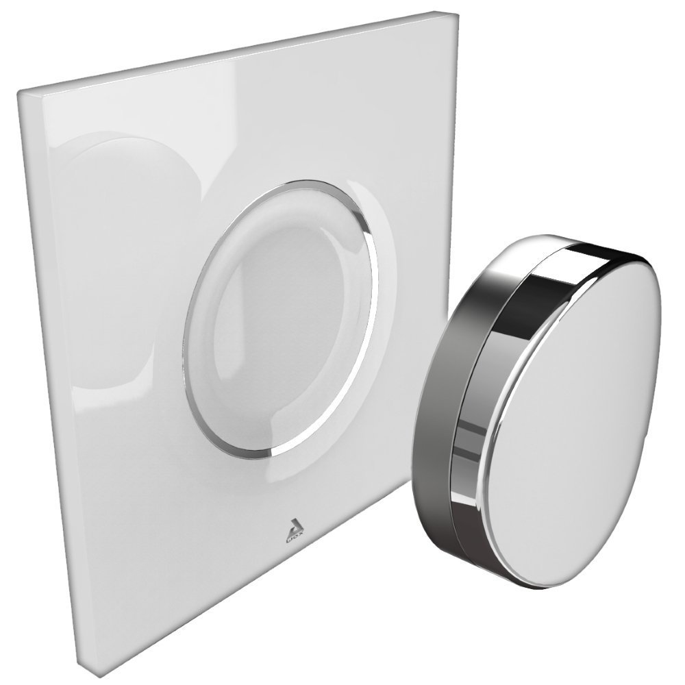 AwoX SP-B SmartPEBBLE Schalter Blautooth Steuerrung über Gestik Kunststoff Metall weiß chrom 80 x 80 mm