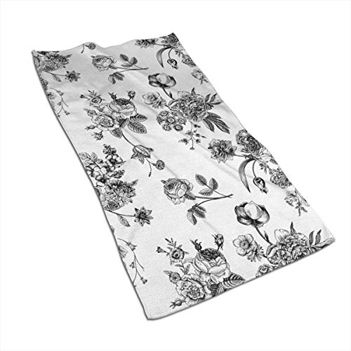OBILITDREAM Vintage Floral Pattern Victorian Classic Face Towel,Hand Towel,Kitchen Towels-Dish 3D Design Pattern Towel,Towels for The Kitchen,Cleaning,Cooking,Baking 15.7x27.5in
