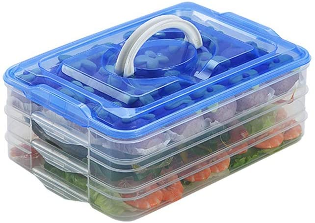 TIAN CHEN Refrigerator Organizer Bin, Plastic Food Storage Containers with Lid, 3-Layer, BPA free, Stackable Food Organizer Keeper for Snack, Vegetables, Meat, Fish, Bacon (blue)