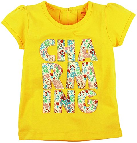 Oye Girls Short Sleeve Tee with Chest Applique - Maize (3-4Y)
