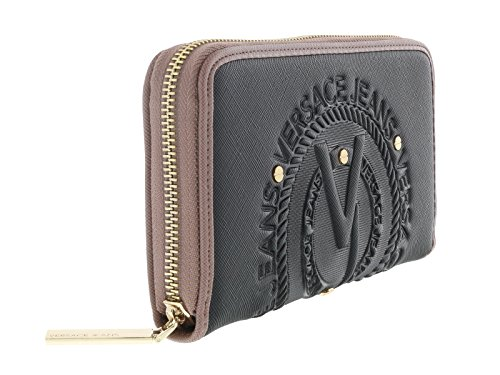 Versace EE3VQBPQ1 EMI6 Black and Mauve Sleek Wallet