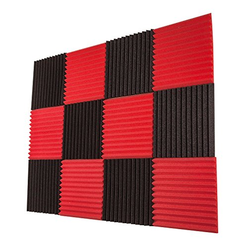 (Foamily 12 Pack- Red/Charcoal Acoustic Panels Studio Foam Wedges 1