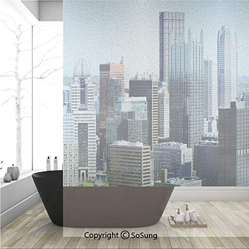 3D Decorative Privacy Window Films,American Architecture Pittsburgh PA Skyline Pennsylvania Modern Cityscape,No-Glue Self Static Cling Glass Film for Home Bedroom Bathroom Kitchen Office 36x48 Inch
