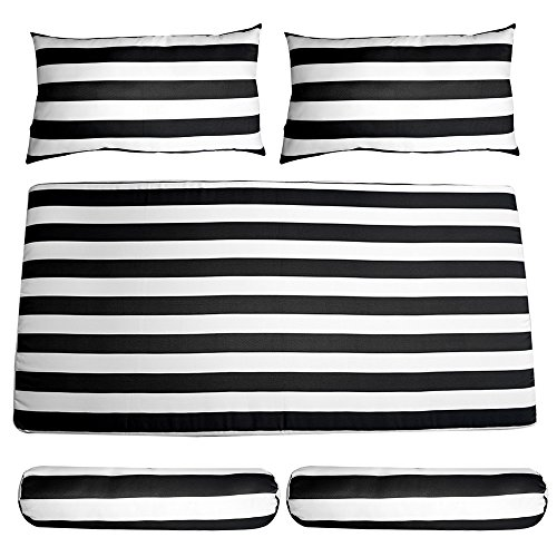 DBM IMPORTS 1 SET Porch Swing Bench Cushion SEAT COVERS Black White Stripe Bolster Pillows Fabric -