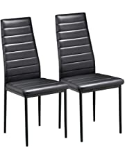 Yaheetech Black Modern Faux Leather Parson Dining Chairs Set of 2 High Back Seat Kitchen Dining Room Furniture