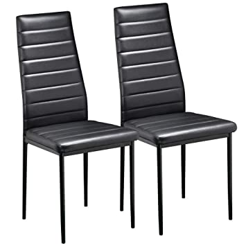 Yaheetech Pair Of Black Modern Faux Leather Parson Dining Chairs Set Of 2 High Back Seat Kitchen Dining Room Furniture