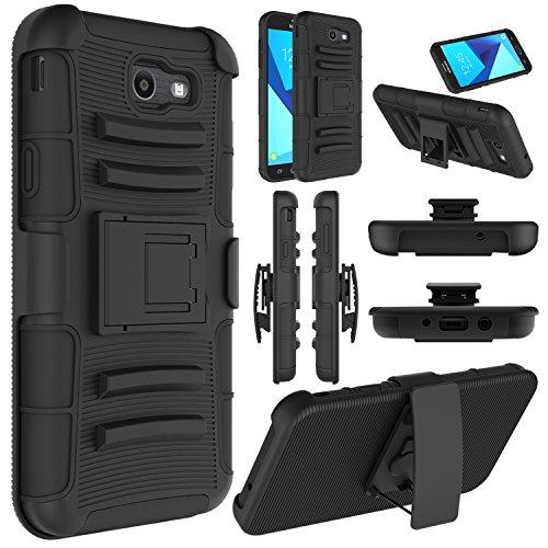 Elegant Choise Galaxy J7 Case 2017, Galaxy J7 Sky Pro Case, J7 V Case, Halo, J7 Perx Case, Heavy Duty Shockproof Dual Layer Holster with Kickstand and Belt Clip Rugged Case for Samsung J7 2017(Black)