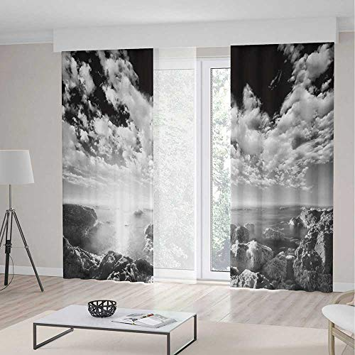 iPrint Black White Room Decor Curtains,New York Skyscrapers Skyline Black White Rooftop View Manhattan Midtown Print,Living Room Bedroom Window Drapes 2 Panel Set,157 W 84 L,Grey -