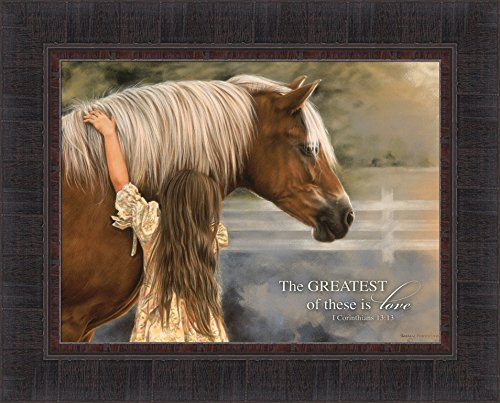 The Greatest Of These Is Love by Lesley Harrison 17x21 Girl Hugging Horse Scripture Religious Bible Verse Framed Art Print Wall Décor Picture