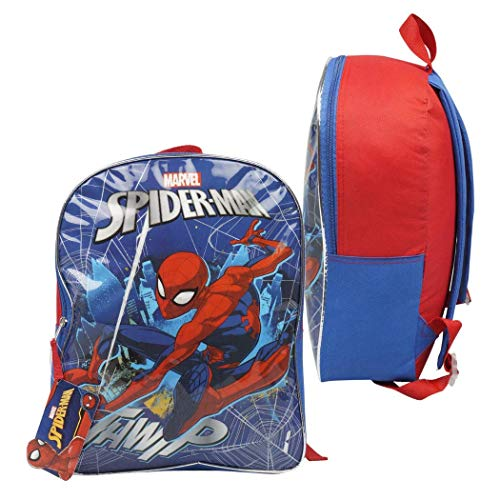 Character Backpacks For School, Summer Camp, Travel and Outdoors With Adjustable, Padded Back Straps (Spiderman, 15